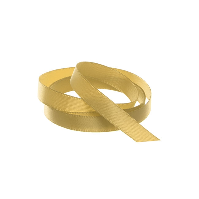 Ribbon Single Face Satin Woven Edge Gold (10mmx20m)