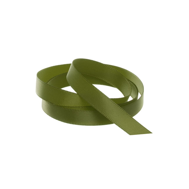 Ribbon Single Face Satin Woven Edge Olive (10mmx20m)