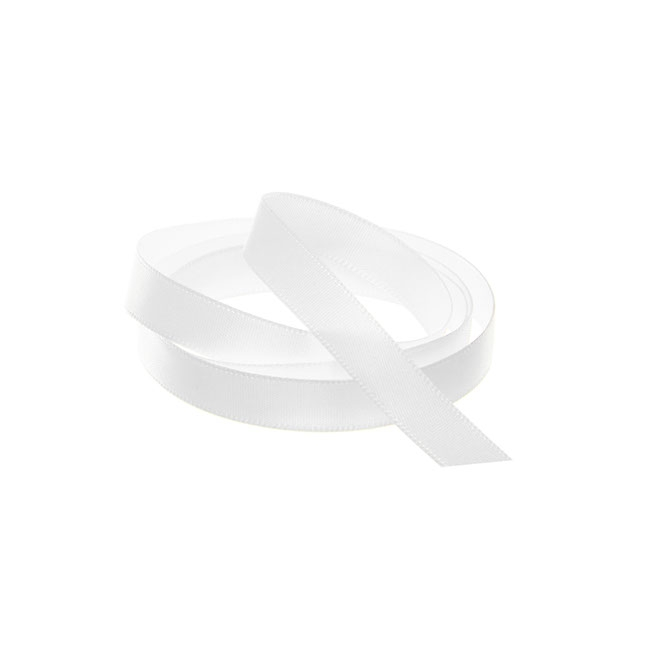 Satin Ribbons - Ribbon Single Face Satin Woven Edge White (10mmx20m)