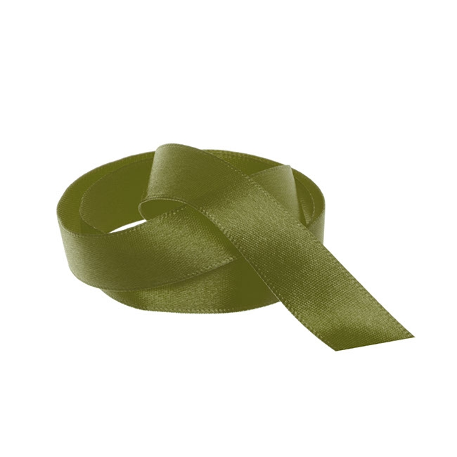 Ribbon Single Face Satin Woven Edge Olive (15mmx20m)