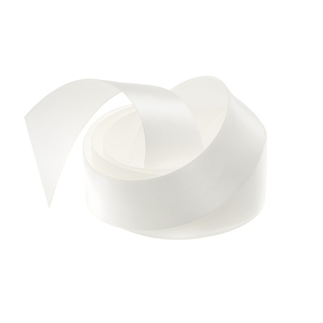 Ribbon Single Face Satin Woven Edge Bridal White (25mmx20m)