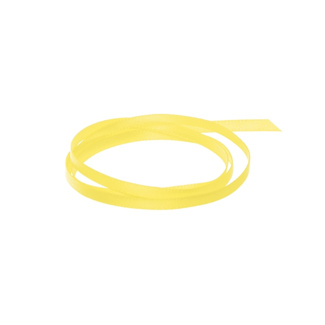 Satin Ribbons - Ribbon Satin Deluxe Double Faced Lemon (3mmx50m)