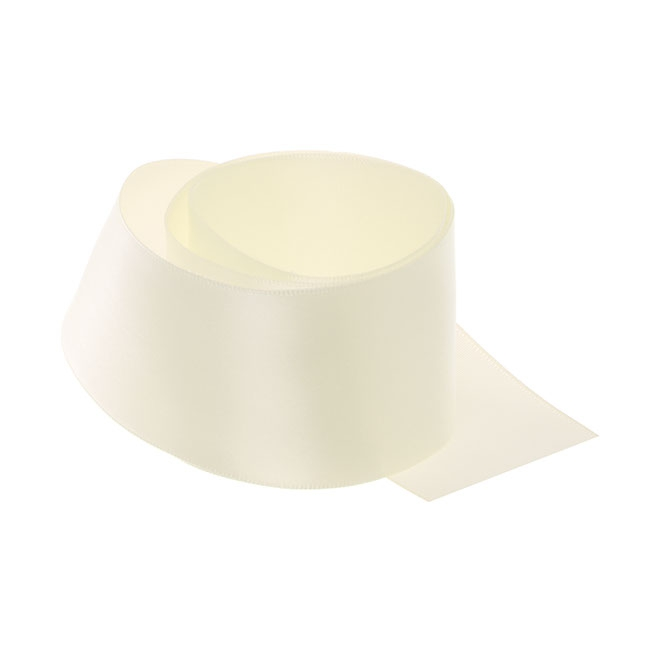 Ribbon Single Face Satin Woven Edge Cream (50mmx20m)