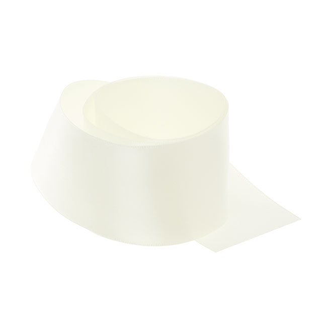 Satin Ribbons - Ribbon Single Face Satin Woven Edge Ivory (50mmx20m)