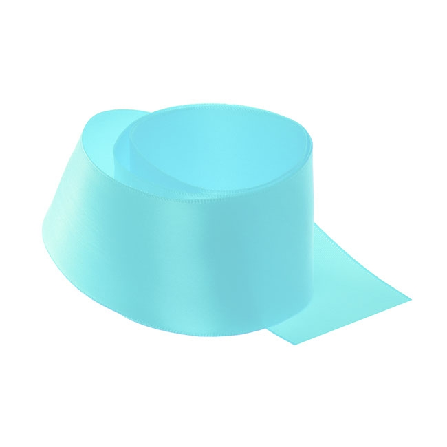 Ribbon Single Face Satin Woven Edge Tiffany Blue (50mmx20m)