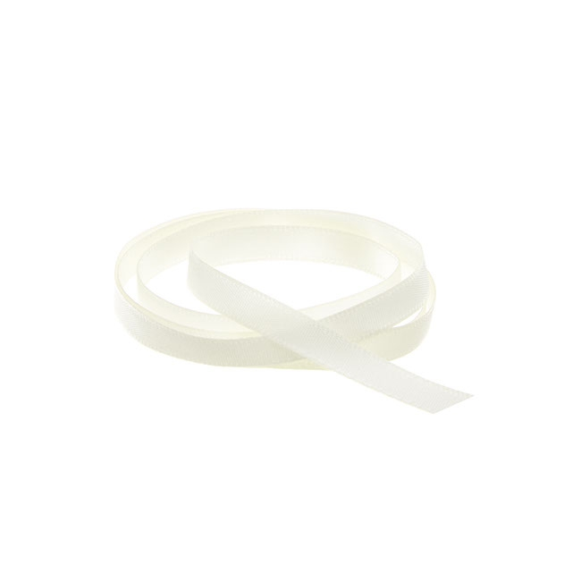 Satin Ribbons - Ribbon Single Face Satin Woven Edge Ivory (6mmx20m)