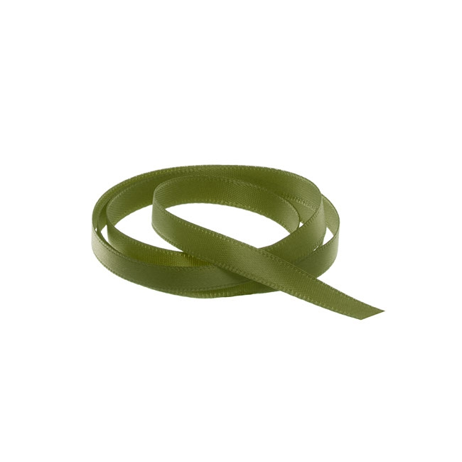 Satin Ribbons - Ribbon Single Face Satin Woven Edge Olive (6mmx20m)