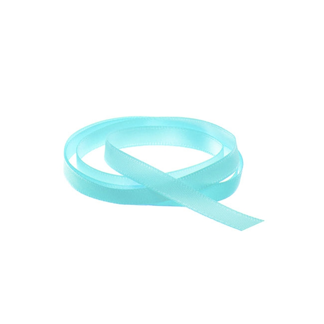 Satin Ribbons - Ribbon Single Face Satin Woven Edge Tiffany Blue (6mmx20m)