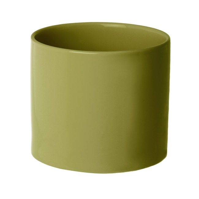 Florist Flower Pots - Ceramic Bondi Cylinder (15Dx13cmH) Single Moss