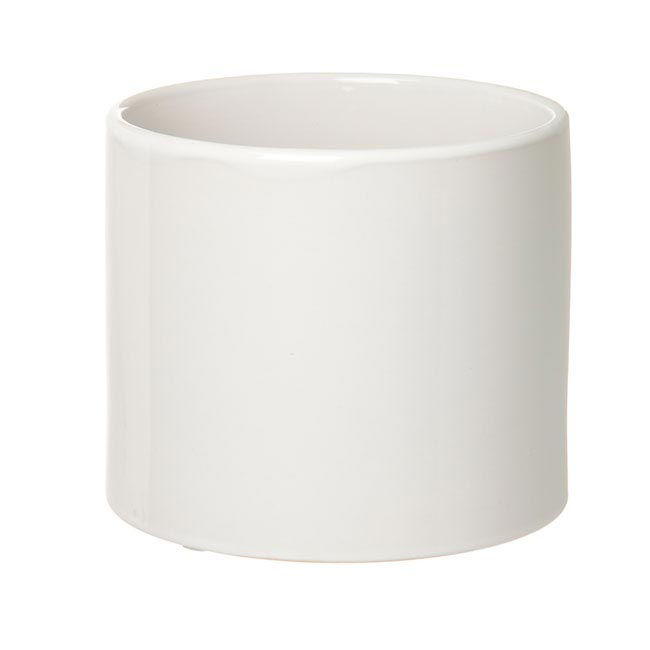Florist Flower Pots - Ceramic Bondi Cylinder (15Dx13cmH) Single White
