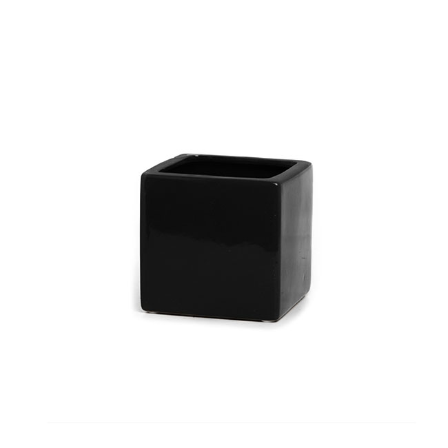 Florist Flower Pots - Ceramic Bondi Cube Mini (10x10x10cmH) Single Black