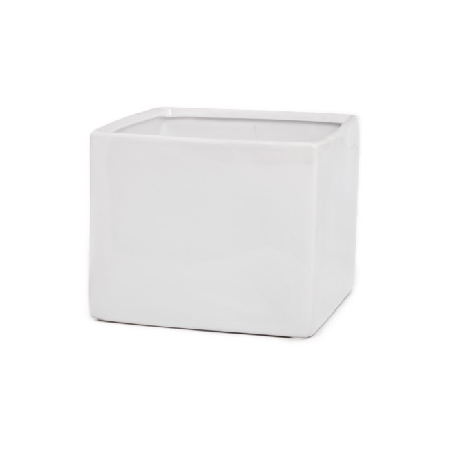 Ceramic Bondi Cube 18x18x14cmH Single White