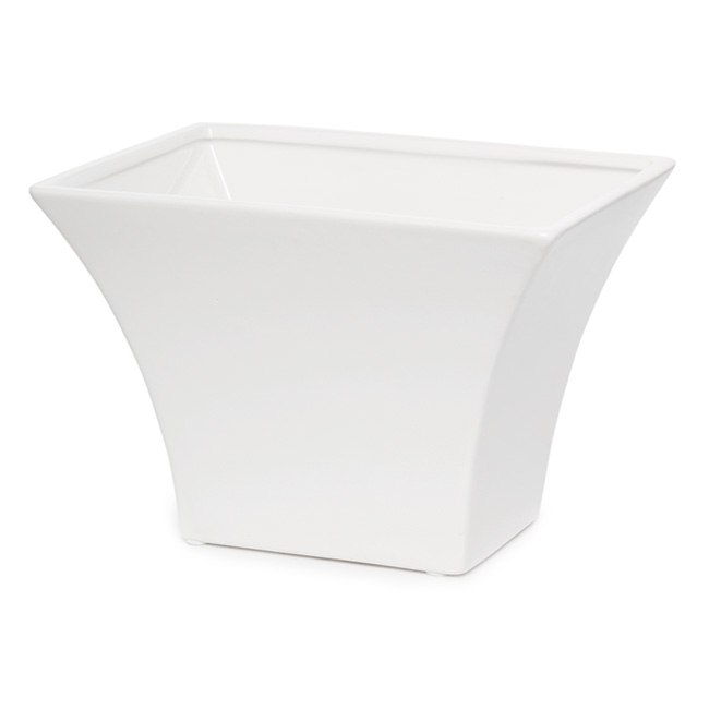 Ceramic Flora Flared Rectangle Pot 15x22x15cmH White