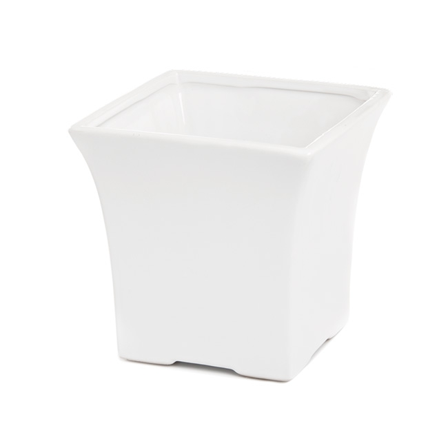 Florist Flower Pots - Ceramic Flora Flared Square Pot 15x15x15cmH White