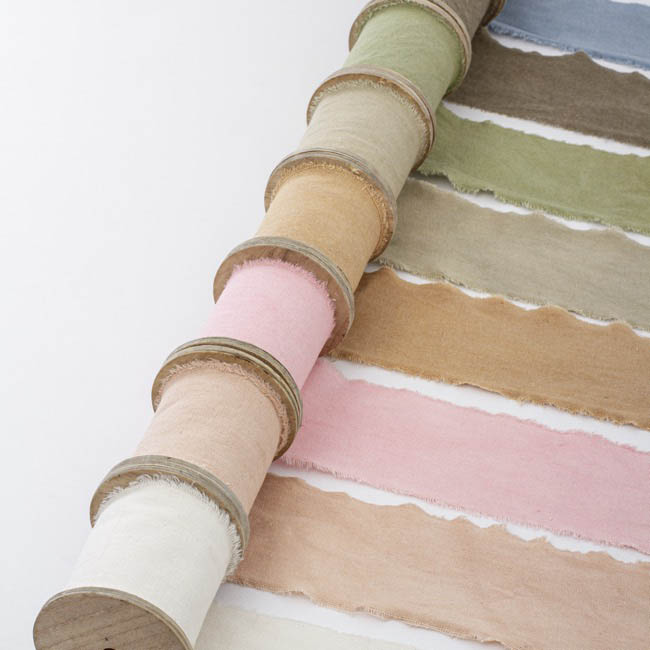 Cotton & Linen Ribbons - Calico Ribbon with Wooden Spool Sand (80mmx5m)