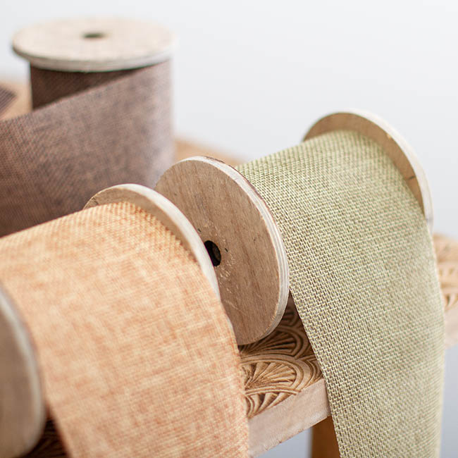 Cotton & Linen Ribbons - Linen Look Ribbon with Wooden Spool Brown (80mmx5m)