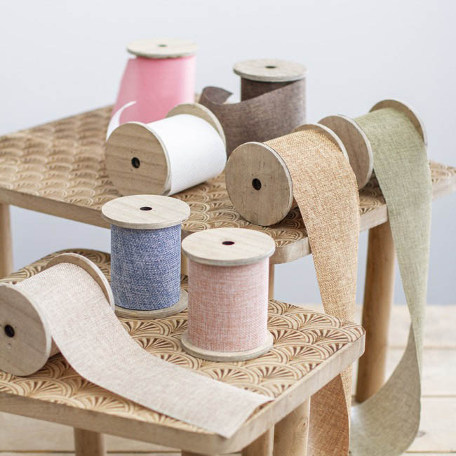 Cotton & Linen Ribbons - Linen Look Ribbon with Wooden Spool White (80mmx5m)