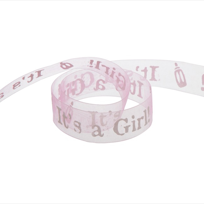 Ribbon Organza It's A Girl Baby Pink (25mmx20m)