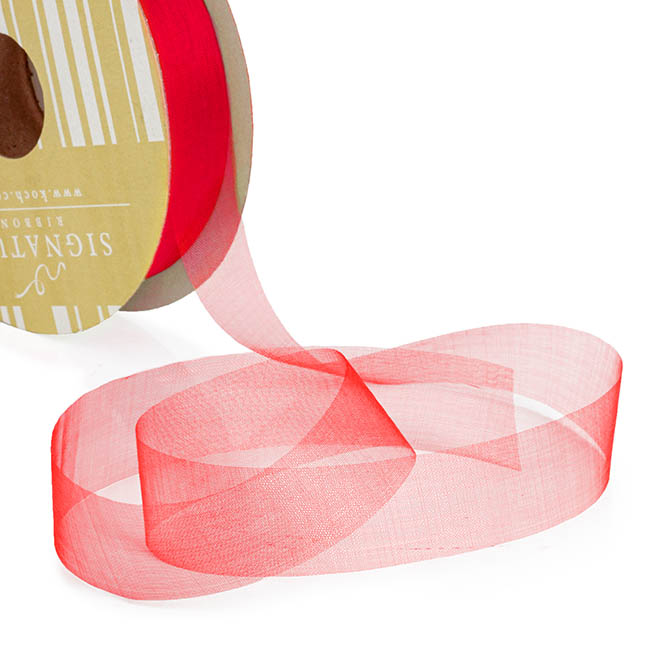 Ribbon Deluxe Organza Cut Edge Red (25mmx50m)