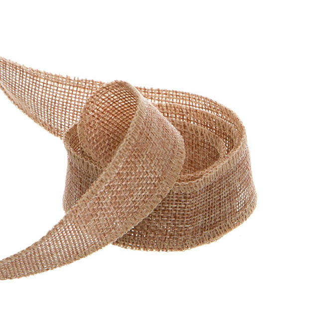 Jute Ribbons - Poly Flax Jute Ribbon Sewn Edge Natural (25mmx10m)