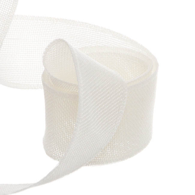 Jute Ribbons - Poly Flax Jute Ribbon Sewn Edge Cream (50mmx10m)