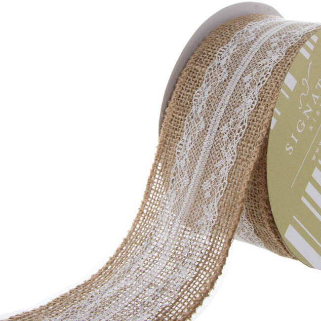 Jute Ribbons - Jute Ribbon with Cotton Lace White (60mmx10m)