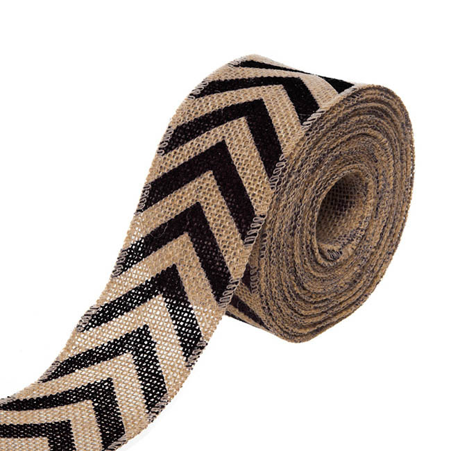 Natural Jute Ribbon Chevron Black (6.35cmx10m)