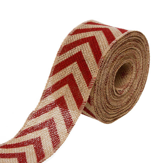 Natural Jute Ribbon Chevron Red (6.35cmx10m)