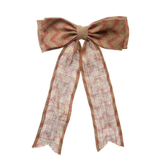 Jute Bow with Chevron Pattern Pink (25x35cmH)