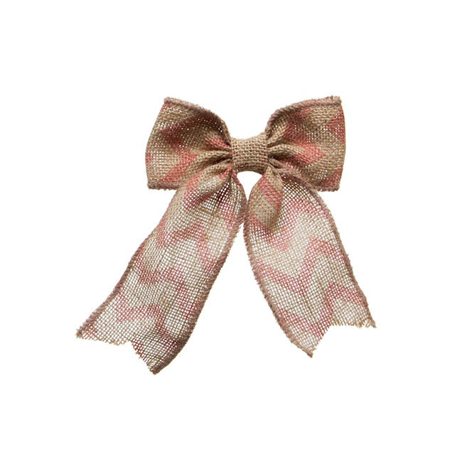 Jute Bow with Chevron Pattern Pink (14x18cmH)