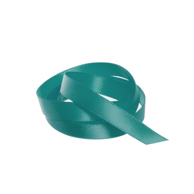 Satin Ribbons - Ribbon Satin Deluxe Double Faced Teal (10mmx25m)