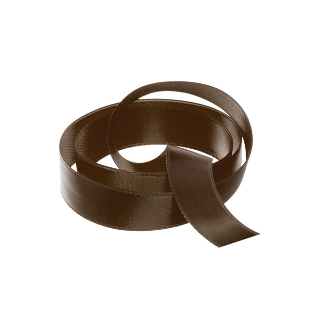 Satin Ribbons - Ribbon Satin Deluxe Double Faced Chocolate (15mmx25m)