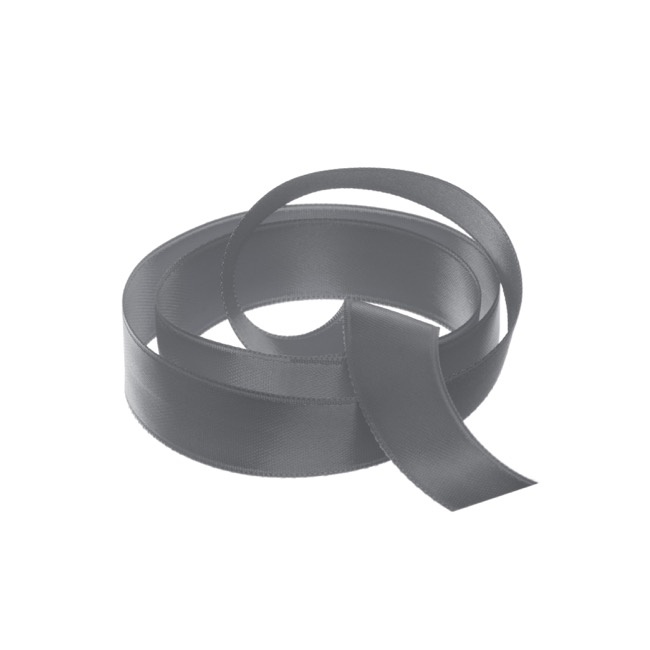 Satin Ribbons - Ribbon Satin Deluxe Double Faced Charcoal (15mmx25m)
