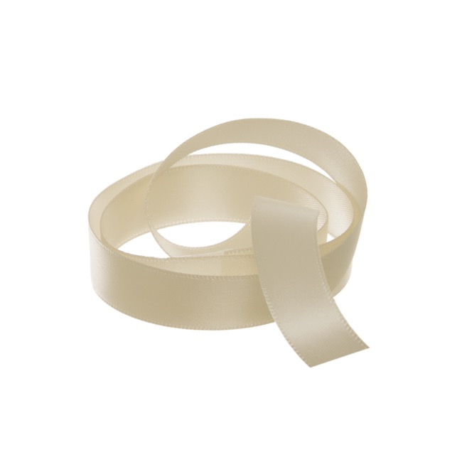 Satin Ribbons - Ribbon Satin Deluxe Double Faced Champagne (15mmx25m)