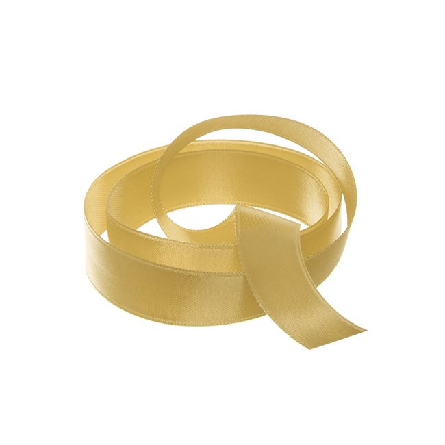 Satin Ribbons - Ribbon Satin Deluxe Double Faced Gold (15mmx25m)