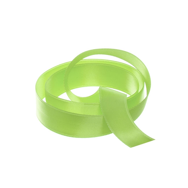 Satin Ribbons - Ribbon Satin Deluxe Double Faced Lime (15mmx25m)