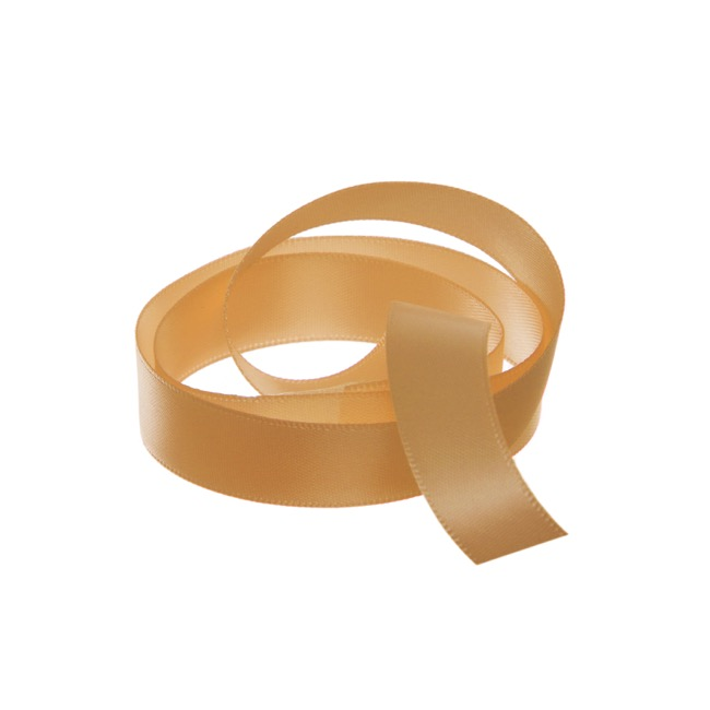 Satin Ribbons - Ribbon Satin Deluxe Double Faced New Gold (15mmx25m)