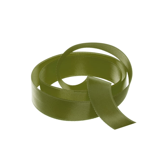Ribbon Double Face Satin Olive (15mmx25m)