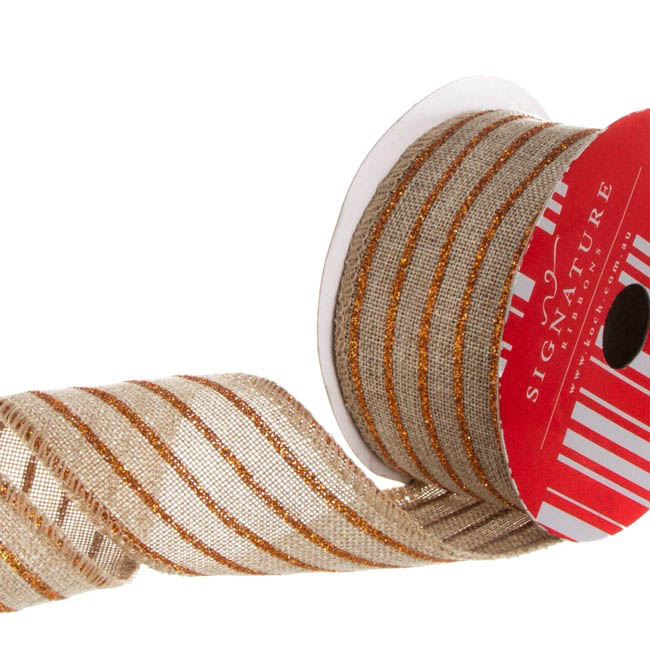 Ribbon Poly Jute Glitter Stripes Copper (50mmx10m)