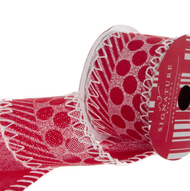 Jute Ribbons - Ribbon Poly Jute with Stitch Red (60mmx10m)