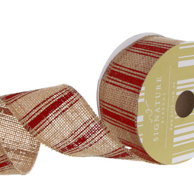 Ribbon Jute Multi Stripes Red (60mmx10m)