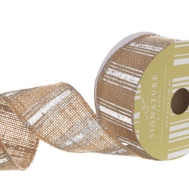Ribbon Jute Multi Stripes White (60mmx10m)