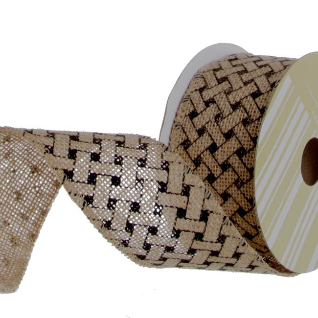 Jute Ribbons - Ribbon Jute with Woven Print Black (60mmx10m)