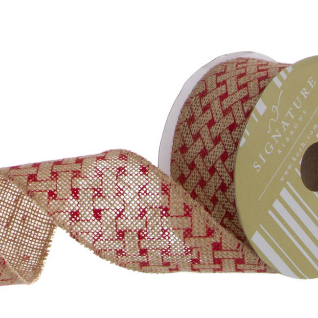 Ribbon Jute with Woven Print Red (60mmx10m)