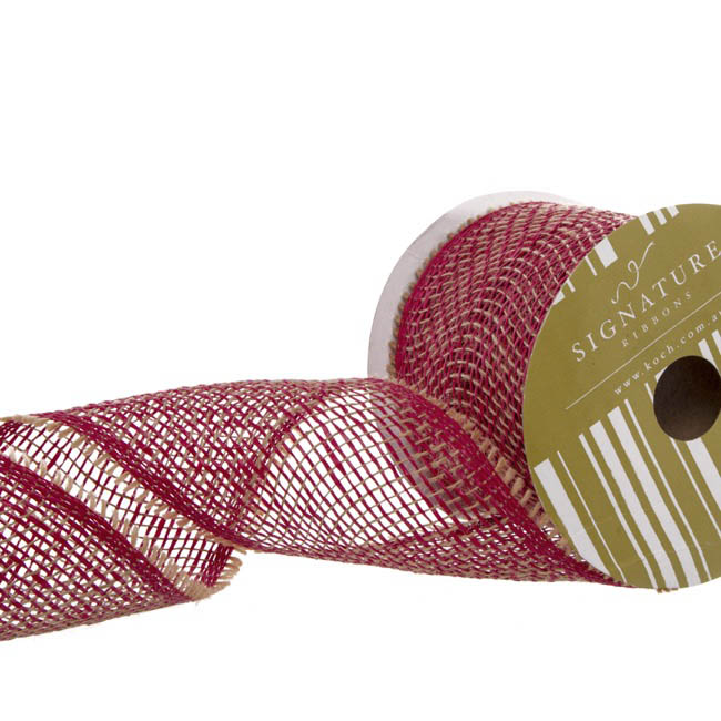 Jute Ribbons - Ribbon Jute & Paper Open Weave Red (100mmx10m)