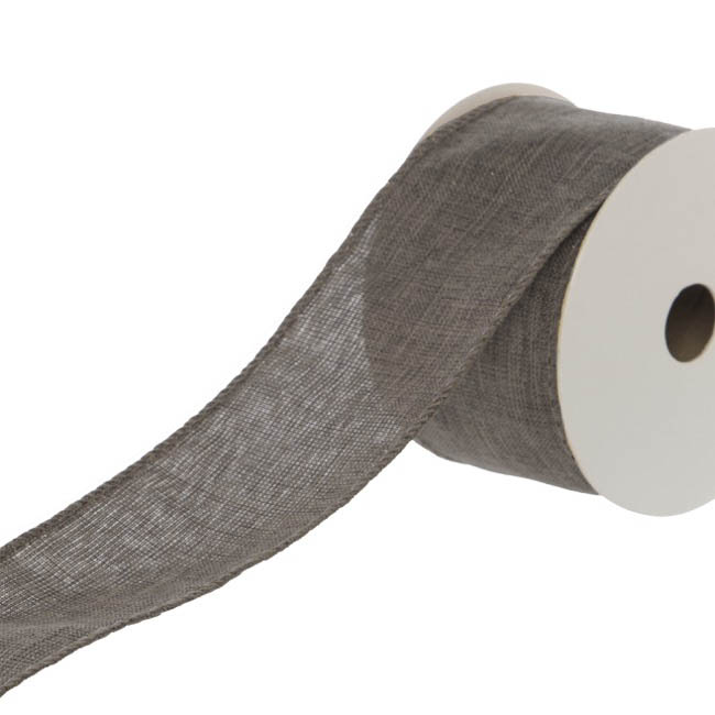 Cotton & Linen Ribbons - Ribbon Plain Linen with Glitter Flecks Grey (50mmx9.1m)