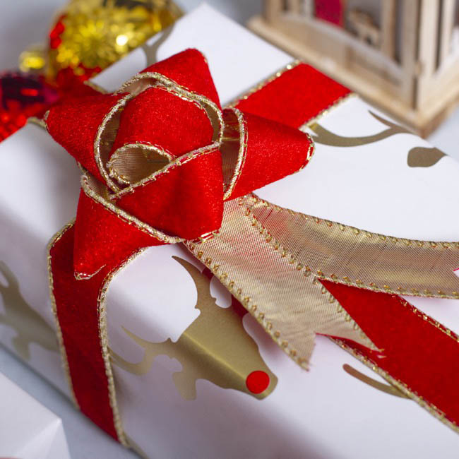 Christmas Ribbons - Ribbon Velvet with Gold Backing Red Wired Edge (25mmx10m)