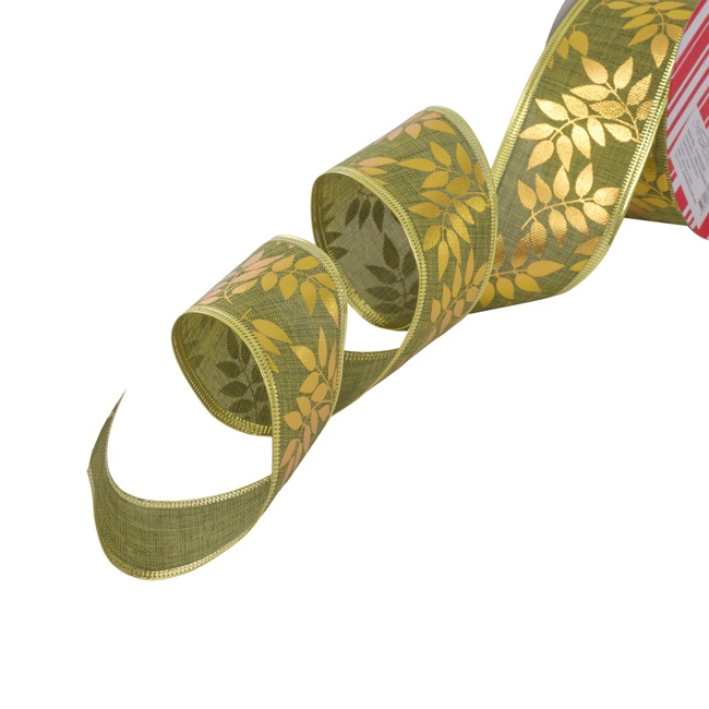 Cotton & Linen Ribbons - Ribbon Linen Metallic Leaf Green Wired Edge (50mmx10m)