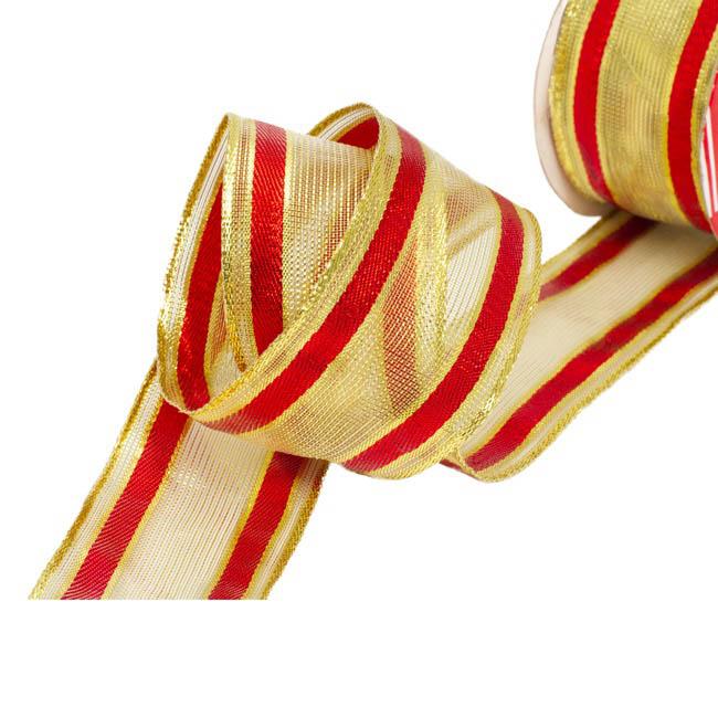 Christmas Ribbons & Bows - Ribbon Woven Mesh Stripe Gold Red (50mmx10m)