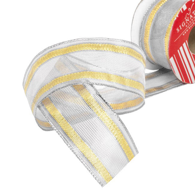 Christmas Ribbons & Bows - Ribbon Woven Mesh Stripe Silver Gold (50mmx10m)